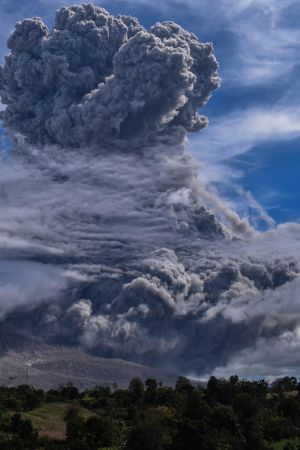 TOWERING INFERNO: Mount Sinabung spews volcanic ash into the air during an eruption in Karo, North Sumatra, Indonesia.  The country sits on the Pacific Ring of Fire, which accounts for 80 per cent of the world's seismic activity. Photograph: Ita Sitepu/EPA