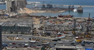 The aftermath of the Beirut port blast six days after an explosion rocked the Lebanese capital. Photograph: Wael Hamza/EPA