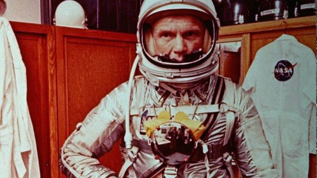 Astronaut John Glenn suits up prior to his mission of orbiting around the Earth, in 1962 in Cape Canaveral, Florida. Photograph: AP Photo/NASA