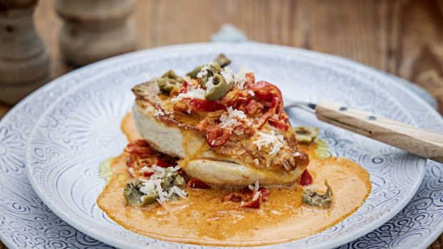 Chicken with red peppers and smoky Parmesan cream. Photograph: Harry Weir