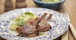 Lamb chops with minty peas and mustard mash. Photograph: Harry Weir