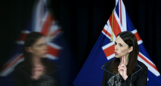 New Zealand's prime minister Jacinda Ardern speaks to media during a press conference at parliament on Wednesday in Wellington after Covid-19 restrictions were reintroduced across the country after four new cases were diagnosed in Auckland. Photograph:  Hagen Hopkins/Getty Images.
