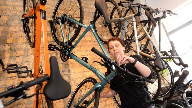 Anne Bedos working in the Rothar bike shop in Phibsboro, Dublin. Photograph: Dara Mac Dónaill/The Irish Times
