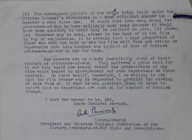 Part of Lt Gen Percival's letter about Bridge on the River Kwai. Photograph: UK Crown Copyright/courtesy of UK National Archives