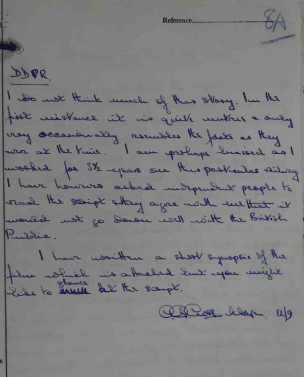 Major Close's letter about Bridge on the River Kwai. Photograph: UK Crown Copyright/courtesy of UK National Archives