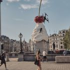 Heather Phillipson's statue, The End, which was unveiled in Trafalgar Square, London, this July. The statue includes a working drone, which films the square below. Photograph: Tom Jamieson/The New York Times