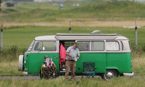 FAST FOOD: Staycationers take a tea break at their VW van during a road trip on Bull Island. Photograph: Nick Bradshaw/The Irish Times