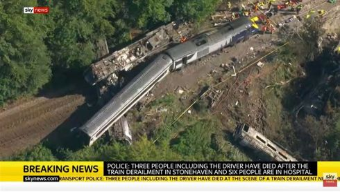 TRAIN DERAILMENT: Video grab taken from Sky News of the train derailment near Stonehaven in Aberdeenshire, Scotland, which resulted in at least three deaths. Photograph: Sky News/PA Wire
