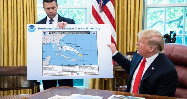 Donald Trump with a map of a previously projected path of Hurricane Dorian. He used a marker pen to erroneously claim the hurricane would strike southeastern Alabama. File photograph: Michael Reynolds/EPA