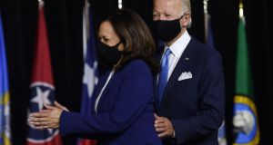 Double act: Democratic presidential nominee Joe Biden and his vice-presidential running mate Senator Kamala Harris arrive for their first press conference in Delaware. Photograph: Getty
