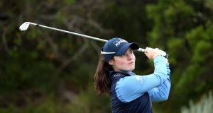 Leona Maguire will resume her first round on two over par.