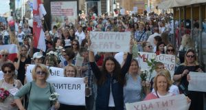 Belarusian teachers attend a rally in support of the Belarusian opposition, and against police brutality and the results of the presidential election, in Minsk. Photograph: Yauhen Yerchak/EPA