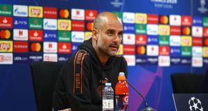 "Pep Guardiola:  ""I feel the time has arrived to be ourselves. We will respect our opponents, of course, but in this game I want to see my team show who they are."" Photograph: AFP/Getty"