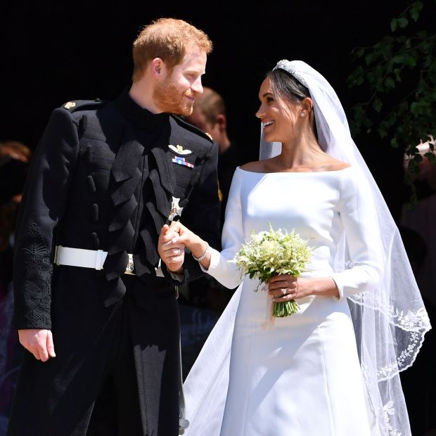 Wedding bells: Harry and Meghan after their marriage, at Windsor Castle, in 2018. Photograph: Ben Stansall/Pool/Getty