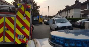 Firefighters from Dolphin's Barn and Donnybrook attended a fire at a home in Crumlin where a body was found on Friday. Photograph: Dublin Fire Brigade/Twitter