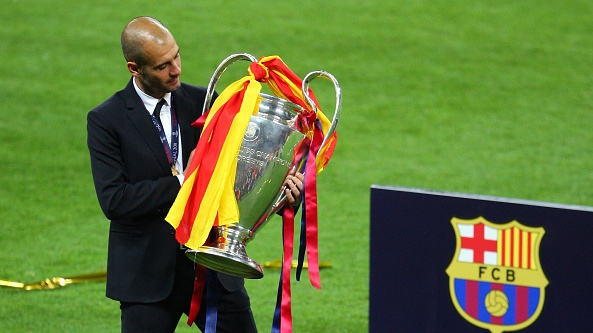 Pep Guardiola has now gone a decade without winning the Champions League. File photograph: Getty Images