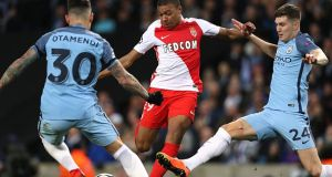 Kylian Mbappe in action for Monaco against Man City in 2017. File photograph: Getty Images