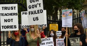 Students protest outside 10 Downing Street in London on Saturday. Photograph: EPA