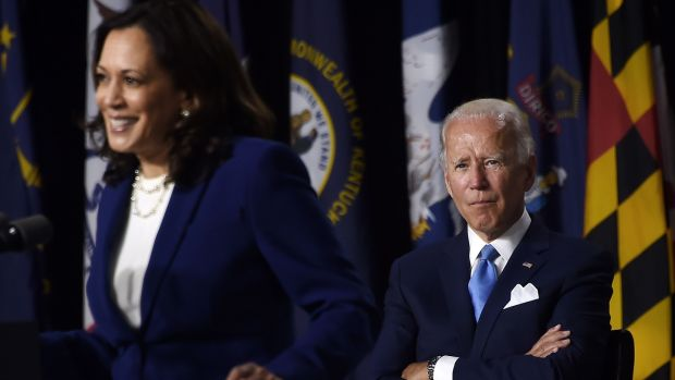 Joe Biden looks on as his new running mate Kamala Harris speaks in Wilmington, Delaware, last week. Photograph: Olivier Douliery/AFP via Getty Images