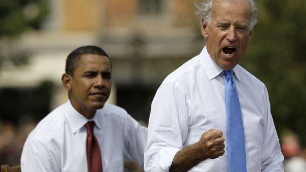Biden and Barack Obama on the campaign trail in Springfield, Illinois in 2008. Photograph: M Spencer Green/AP