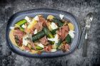 Roasted courgettes with burrata, umami dressing and serrano ham. Photograph: Harry Weir