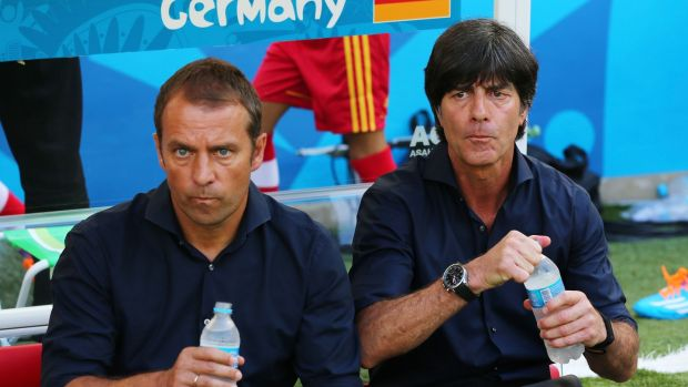 Flick with Joachim Löw during his time as Germany assistant at the 2014 World Cup. Photo: Martin Rose/Getty Images