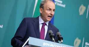 Taoiseach Micheál Martin at the post-Cabinet press briefing at Government Buildings in Dublin on Tuesday night. Photograph: Julien Behal Photography/PA Wire