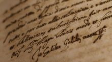 "Galileo Galilei's signature is seen on a document displayed during the exhibition ""Lux in Arcana, the Vatican secret Archives reveals itself"" at the Capitoline Museums in Rome in 2012. Photograph: Tony Gentile/Reuters"
