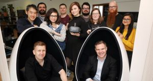 VRAI co-founders Niall Campion and Pat O'Connor with the rest of the team.