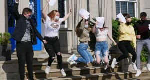 Students at Hazelwood College in Belfast celebrate receiving their  GCSE results on Thursday. Photograph:  Dean Kernoghan/Hazelwood College/PA Wire.