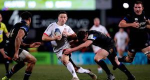 John Cooney in action for Ulster against Freddie Burns of Bath during the Champions Cup game at the  Kingspan Stadium in  Belfast in January. Photograph:  Ryan Byrne/Inpho