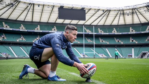 John Cooney lines up a kick during the Ireland's captain's run at Twickenham ahead of the England game in February. Photograph: Dan Sheridan/Inpho