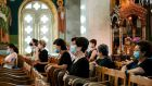 Parishioners attend Sunday mass at a Greek Orthodox church in the village of Athienou, Cyprus. Photograph: Amir Makar/AFP via Getty Images