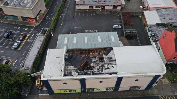 The Regal Centre/O'Keeffe Furniture on Davis Road in Clonmel, Co Tipperary, after part of the roof lifted off the building. Photograph: RTÉ
