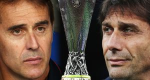 Sevilla head coach Julen Lopetegui and Inter Milan head coach Antonio Conte. Both teams face off in the Europa League final in Cologne on Friday. Photographs:  Alex Caparros, Emilio Andreoli, Michael Regan/Getty Images