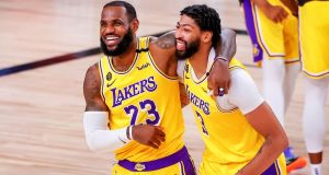 Los Angeles Lakers duo LeBron James and Anthony Davis returned to winning ways on Thursday night in the NBA playoffs. File photograph: EPA