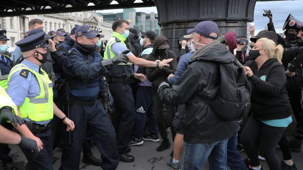 Gardaí policing one of the access routes to the Custom House on Saturday. Photograph Nick Bradshaw / The Irish Times