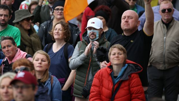 People attending the protest at the Custom House, Dublin. Photograph Nick Bradshaw / The Irish Times