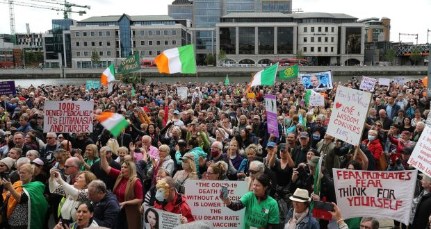 Hundreds attended  anti-lockdown and anti-facemask protest in Dublin on Saturday afternoon. Photograph Nick Bradshaw / The Irish Times
