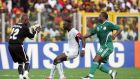 John Paintsil in action for Ghana against his friend Yakubu Aiyegbeni. File photograph: Getty Images