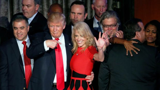 US Republican presidential nominee Donald Trump with campaign manager Kellyanne Conway on stage on election night in 2016. Photograph: Shawn Thew/EPA