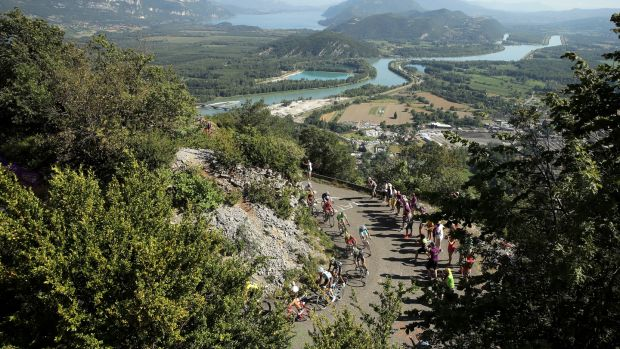 The Grand Colombier provides a super-category uphill finish to stage 15. Photograph: Chris Graythen/Getty Images