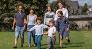 The Ferguson, O'Connor and Petraskova families in Thomastown Co Kilkenny. From left: Jarrad Ferguson, Jana Petraskova, Nathaniel Ferguson (4) Ronia O'Connor (13) Joshua Ferguson (3) Muirne O'Connor and Aesien O'Connor Ferguson (10). Photograph: Dylan Vaughan