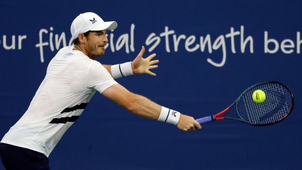 Andy Murray during his defeat to Milos Raonic in New York. Photograph: EPA