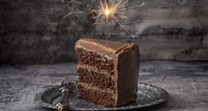 Chocolate fudge layer cake. Photograph: Harry Weir Photography