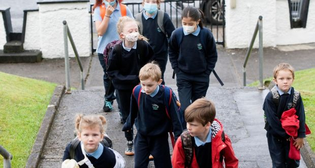 First day back at St Hugh's NS, Dowra, Co Leitrim. Photograph: Brian Farrell/The Irish Times