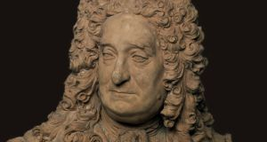A bust of Irish-born doctor Sir Hans Sloane, which has been moved from a pedestal near the entrance to the British Museum to the Enlightenment Gallery, which addresses Britain's relationship with the slave trade.  Photograph: British Museum