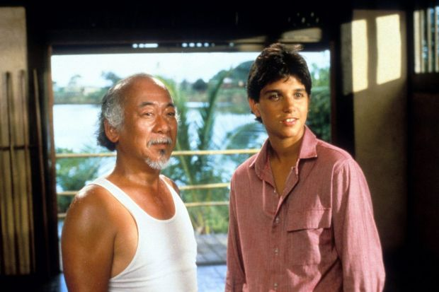 Macchio with Pat Morita in The Karate Kid. Photograph: Columbia Pictures