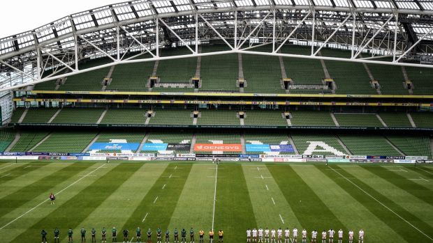 Connacht and Ulster players line-up at the Aviva Stadium. Photograph: Dan Sheridan/Inpho