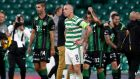 Celtic are out of the Champions League after their 2-1 defeat at home to Ferencvaros. Photograph: Andrew Milligan/PA